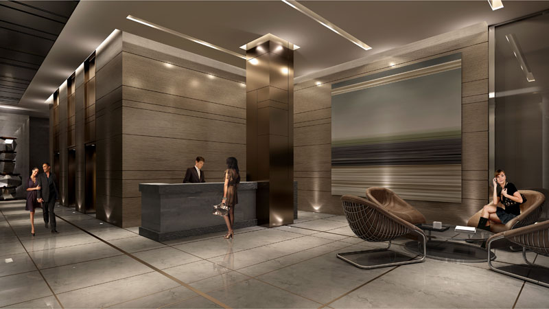 A rendering of the lobby for Backstage condos, designed by Munge & Leung. Image c/o backstageto.com